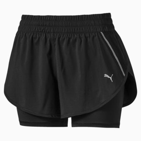 Last Lap Woven 2 in 1 dryCELL Women's Running Shorts, Puma Black-Puma Black, small-IND