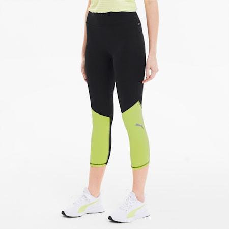 IGNITE 3/4 Women's Tights, Puma Black-Sunny Lime, small