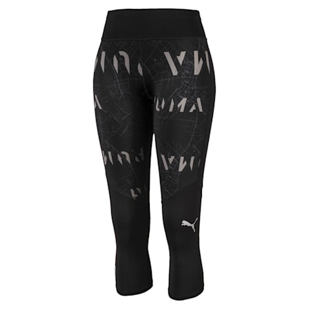 Graphic 3/4 Reflective Tec dryCELL Women's Running Tights, Puma Black-Reflective, small-IND