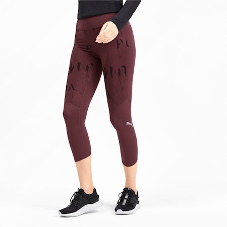 Graphic 3/4 Reflective Tec dryCELL Women's Running Tights, Vineyard Wine-Reflective, small-IND