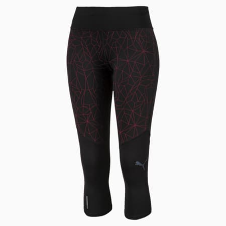 Graphic 3/4 Reflective Tec dryCELL Women's Running Tights, Puma Black-Nrgy Rose, small-IND
