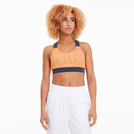 Sujetador deportivo Feel It de mediano impacto para mujer, Fizzy Orange-Dark Denim, pequeño