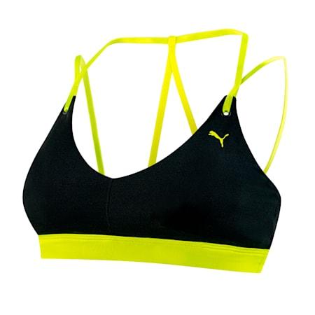 Strappy Studio Women's Crop Top, Puma Black-Yellow Alert, small-SEA