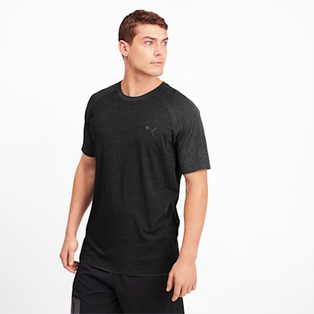 Reactive Short Sleeve Men's Training Tee, Puma Black Heather, small-SEA