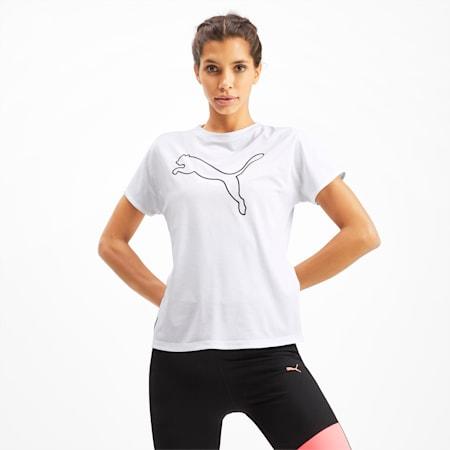 PUMA Cat Short Sleeve Women's Training Tee, Puma White-CAT Q3, small-SEA