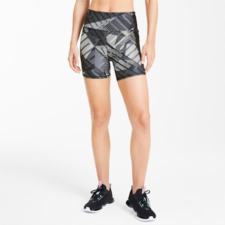 Be Bold Women's Graphic Shorts, Puma Black-Puma White-Q1 Prt, small