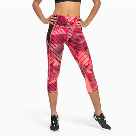 Be Bold All-Over Print 3/4 Women's Training Tights, BRIGHT ROSE-Be Bold Q1 Prt, small