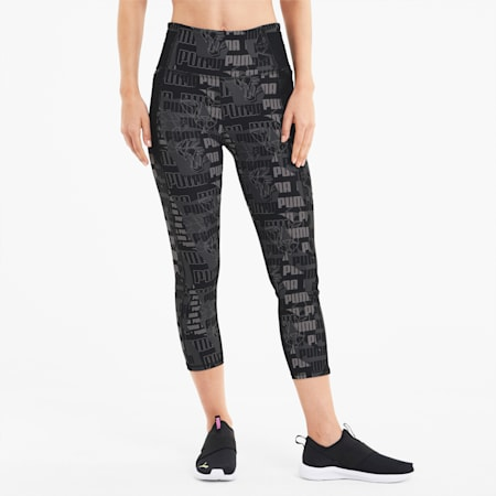 Be Bold AOP Women's 3/4 Leggings, Ultra Gray-AOP, small