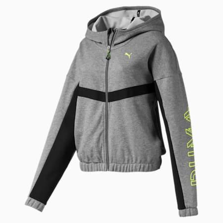HIT Feel It Knitted Women's Training Sweat Jacket, Medium Gray Heather, small-IND