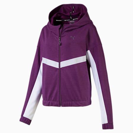 HIT Feel It Women's Sweat Jacket, Plum Purple Heather-White, small