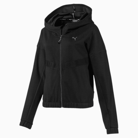 HIT Feel It Knitted Women's Training Sweat Jacket, Puma Black, small-IND