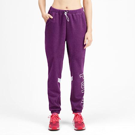 Pantalones deportivos HIT Feel It para mujer, Plum Purple Heather-Blanco, pequeño