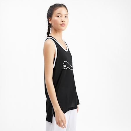 Logo Women's Training Tank Top, Puma Black-Puma White, small-IND