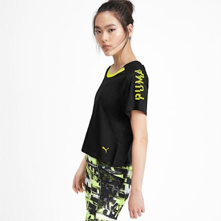 Cropped Short Sleeve Women's Training Tee, Puma Black-Yellow Alert, small-IND