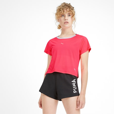 Cropped Short Sleeve Women's Training Tee, Pink Alert, small-IND