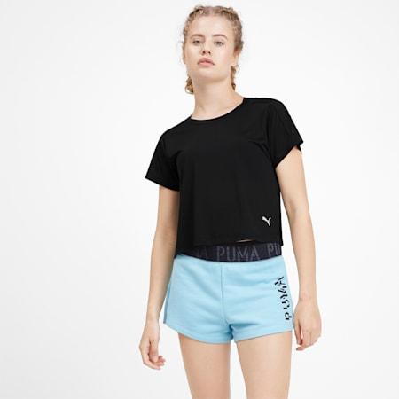 Cropped Short Sleeve Women's Training Tee, Puma Black, small-IND