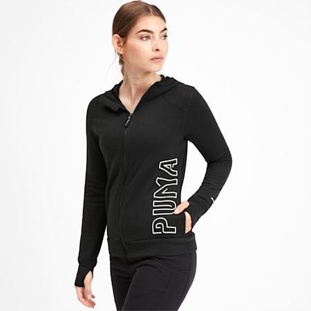 Logo Women's Sweat Jacket, Puma Black-Q4, small