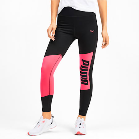 Logo 7/8 Graphic dryCELL Women's Training Leggings, Puma Black-Pink Alert, small-IND