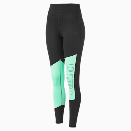 Leggings Training a 7/8 con grafica e logo donna, Puma Black-Green Glimmer, small
