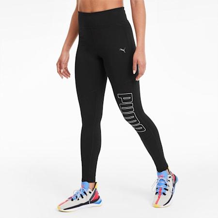 Logo 7/8 Graphic Women's Training Leggings, Puma Black-Silver Prt, small