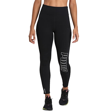 Logo 7/8 Graphic dryCELL Women's Training Leggings, Puma Black-Silver Prt, small-IND