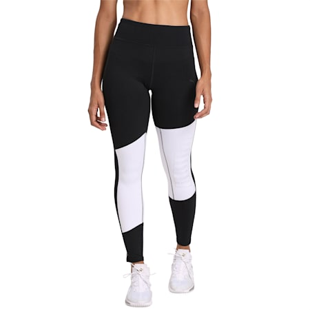 Logo 7/8 Graphic Women's Training Leggings, Puma Blk-Puma Wht-Silver Prt, small-IND