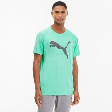 Heather Cat Men's Training Tee, Green Glimmer Heather, small