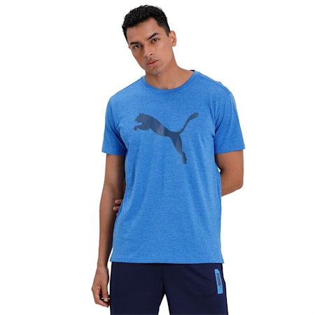 Heather Cat dryCELL Training T-Shirt, Palace Blue Heather, small-IND