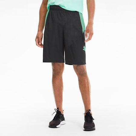 Shorts de training para hombre Cat, Puma Black-Green Glimmer, small