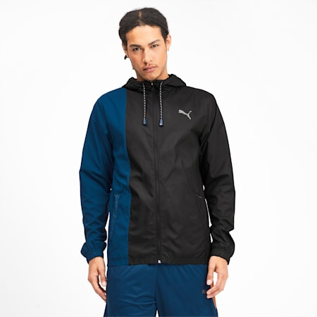 Collective Woven Hooded Men's Training Jacket, Puma Black-Gibraltar Sea, small-SEA