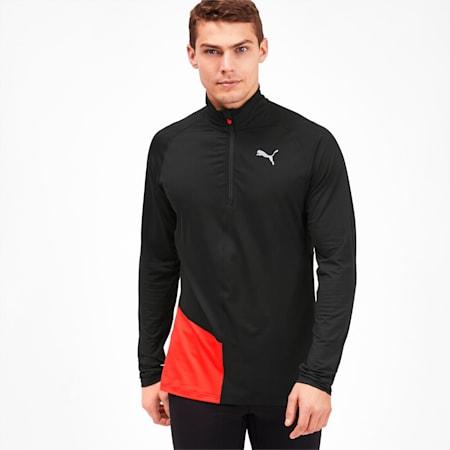 IGNITE Half Zip Men's Running Top, Puma Black-Nrgy Red, small