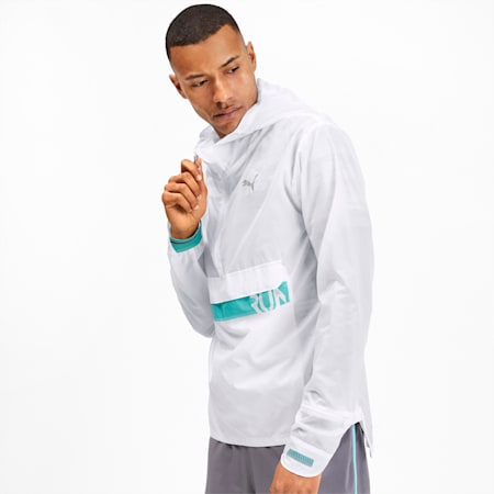 Get Fast Excite Woven Half Zip Men's Running Jacket, Puma White, small-IND