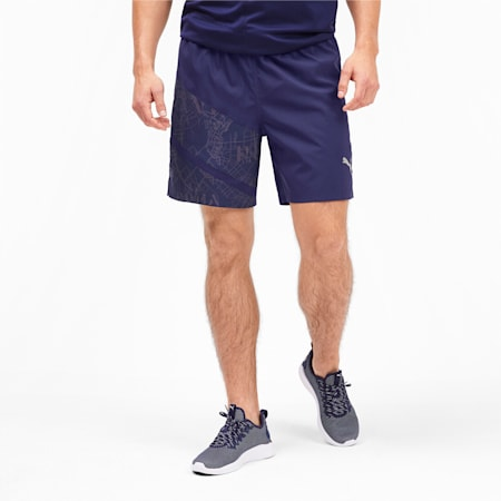 """IGNITE AOP Graphic 7"""" Men's Running Shorts, Peacoat-AOP, small-IND"""