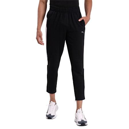 PUMA Cat Flatlock Stiched Men's Sweatpants, Puma Black-Puma White, small-IND