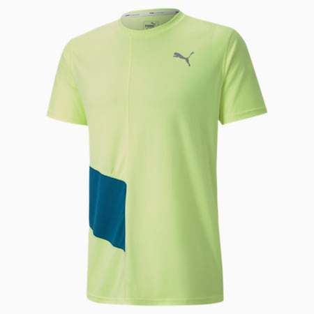 IGNITE Short Sleeve Men's Running Tee, Fizzy Yellow-Digi-blue, small