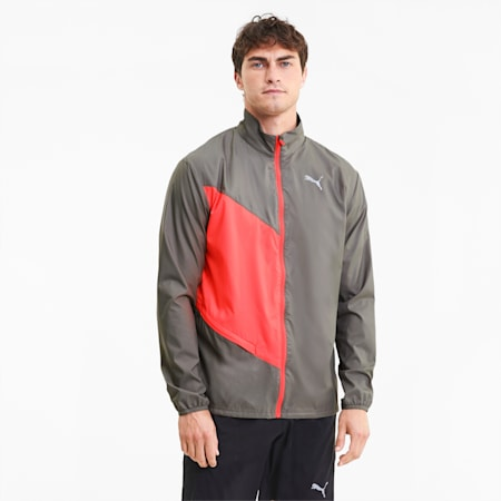 IGNITE Woven windCELL Men's Running Jacket, Ultra Gray-Nrgy Peach, small-IND