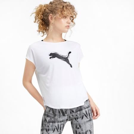 スタジオ SS ウィメンズ トレーニング メッシュ キャット Tシャツ 半袖, Puma White, small-JPN