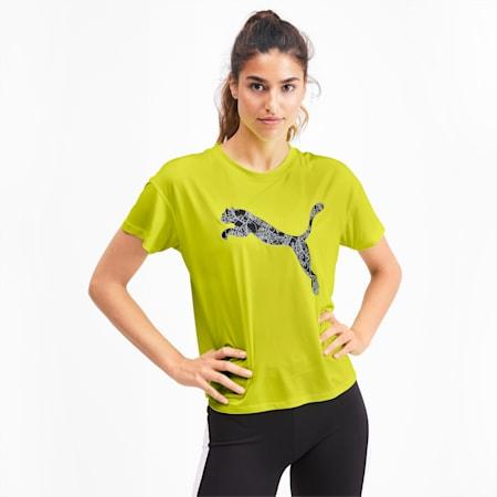 LAST LAP ロゴ SS ウィメンズ ランニング Tシャツ 半袖, Yellow Alert-Cat, small-JPN