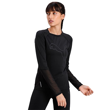 Runner ID Long Sleeve Crew Neck Top, Puma Black, small-IND