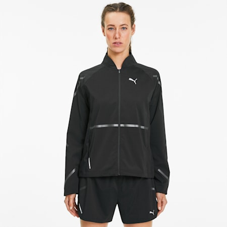 Runner ID Woven Women's Running Jacket, Puma Black, small-SEA