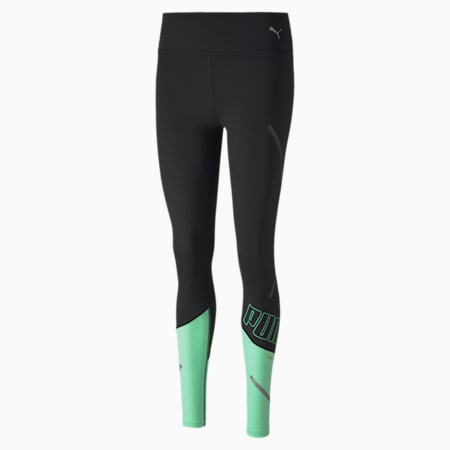 Runner ID THERMO R+ Women's Running Tights, Puma Black-Green Glimmer, small