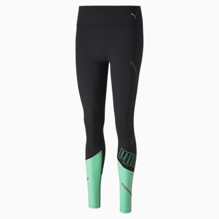 Runner ID THERMO R+ Women's Running Tights, Puma Black-Green Glimmer, small-SEA