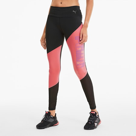 Pantaloni aderenti da running Last Lap Excite Summer donna, Puma Black-Bubblegum, small