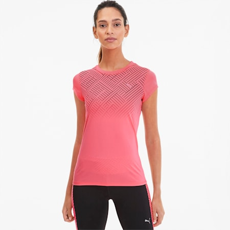 Last Lap Graphic hardloop-T-shirt voor dames, Ignite Pink, small