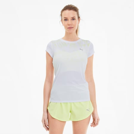 Last Lap Women's Graphic Tee, Puma White-Sunny Lime, small