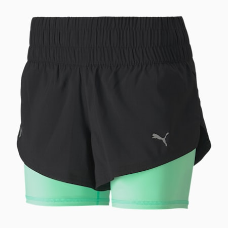 Last Lap 2-in-1 Women's Training Shorts, Puma Black-Green Glimmer, small-SEA