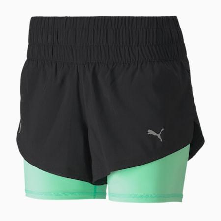 Last Lap 2-in-1 Women's Training Shorts, Puma Black-Green Glimmer, small