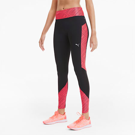 Last Lap Graphic Damen Running Lange Tight, Puma Black-Ignite Pink, small