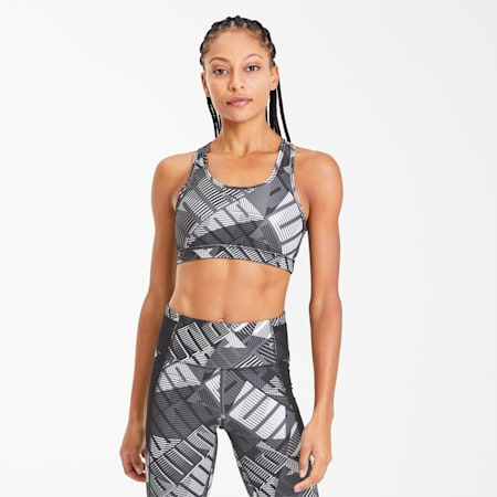 4Keeps Graphic Women's Training Bra, Puma Black-White-Be Bold Prt, small