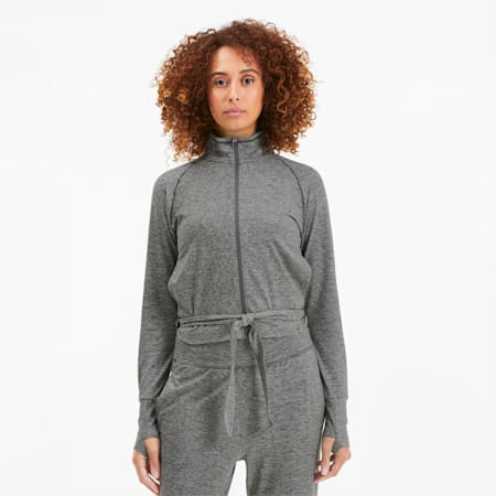 Studio Damen Anpassbare Gestrickte Trainingsjacke, Medium Gray Heather, small